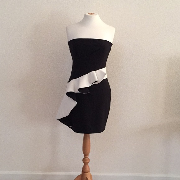 Woman Black And White Strapless Dress